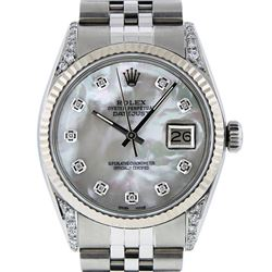 Rolex Mens Stainless Steel Mother Of Pearl Diamond Lugs 36MM Datejust Wristwatch