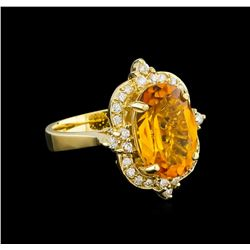 5.25 ctw Citrine and Diamond Ring - 14KT Yellow Gold