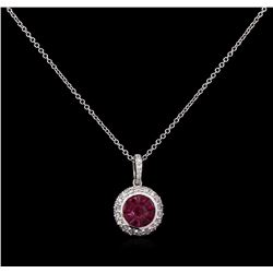 0.77 ctw Ruby and Diamond Pendant With Chain - 14KT White Gold