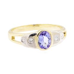 0.86 ctw Tanzanite And Diamond Ring - 14KT Yellow And White Gold