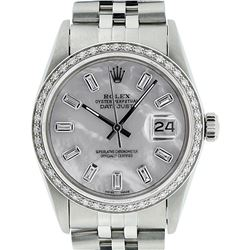 Rolex Mens Stainless Steel MOP Baguette Diamond 36MM Datejust Wristwatch