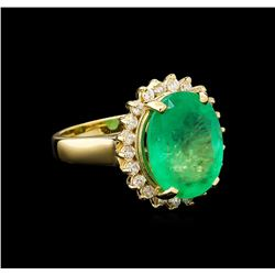 GIA Cert 7.11 ctw Emerald and Diamond Ring - 14KT Yellow Gold