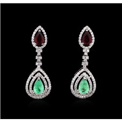 3.72 ctw Emerald, Ruby and Diamond Earrings - 14KT White Gold