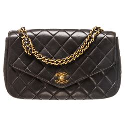 Chanel Black Lambskin Leather Vintage Envelope Single Flap Bag