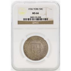 1936 York County, Maine Tercentenary Commemorative Half Dollar Coin NGC MS66