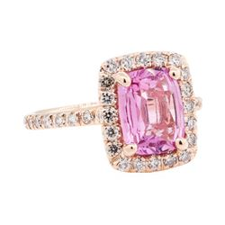 2.43 ctw Pink Sapphire And Diamond Ring - 14KT Rose Gold