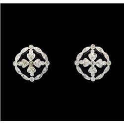 0.47 ctw Diamond Earrings - 14KT White Gold