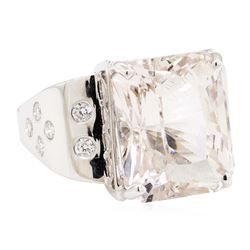 14.15 ctw Morganite And Diamond Ring - 14KT White Gold