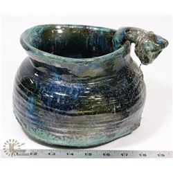 25) MARY BORGSTROM SIGNED & DATED BLUE GLAZED POT