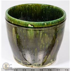 27) MARY BORGSTROM GREEN GLAZED BOWL SIGNED &