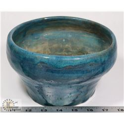 "41) JIM HANSON SIGNED 1965 BLUE BOWL, 7.5""X4.5""."