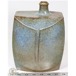 19) BLUE TINTED GLAZE CERAMIC JUG WITH OFFSET