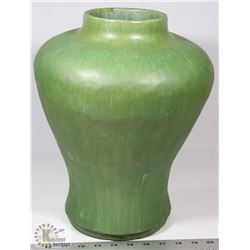 29) MARY BORGSTROM GREEN GLAZED PRIMITIVE VASE