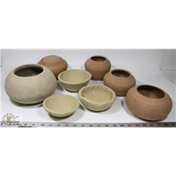 88) LOT OF 8 UNGLAZES PIECES OF ASSORTED POTTERY