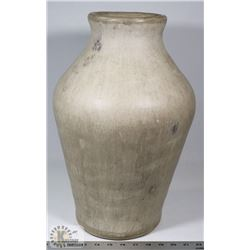35) LARGE STONE POLISHED VASE WITH NATURAL CREAM