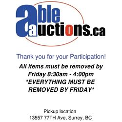 ALL ITEMS MUST BE REMOVED BY FRIDAY 4:00PM