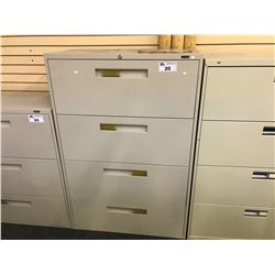 GLOBAL BEIGE 4 DRAWER LATERAL FILE CABINET