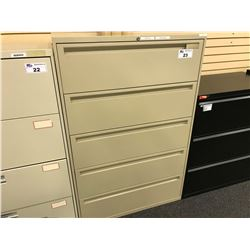 OFFICE SPECIALTY BEIGE 5 DRAWER LATERAL FILE CABINET