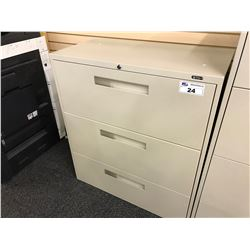 GLOBAL BEIGE 3 DRAWER LATERAL FILE CABINET