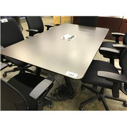 DARK WOOD 6' X 4' CONFERENCE TABLE WITH INTEGRATED POWER/SIGNAL ROUTING