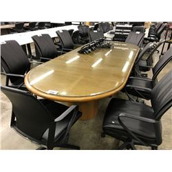 MEDIUM OAK 10' GLASS TOP RACETRACK BOARDROOM TABLE