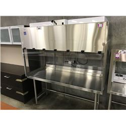 6' STAINLESS STEEL ILLUMINATED/VENTILATED LAB WORK BENCH