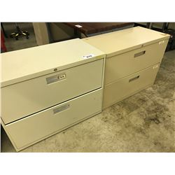4 BEIGE 2 DRAWER LATERAL FILE CABINETS