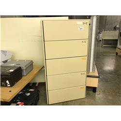 SUNAR UNIWALL BEIGE 5 DRAWER LATERAL FILE CABINET
