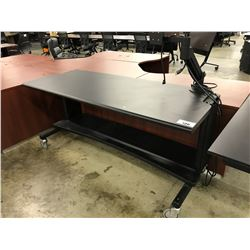 6' BLACK MOBILE TECH TABLE WITH MONITOR ARM