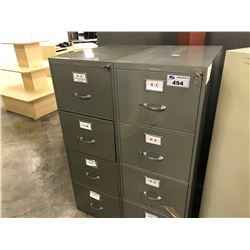 2 GREY SUNAR HEAVY DUTY 4 DRAWER VERTICAL FILE CABINETS
