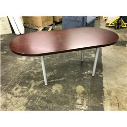 2 MAHOGANY MEETING TABLES AND BOWFRONT EXECUTIVE DESK