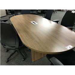 CHESTNUT 8' RACETRACK BOARDROOM TABLE WITH INTEGRATED POWER/SIGNAL ROUTING
