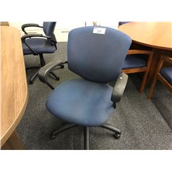 KIMBALL BLUE CHERRY FRAME ARM CHAIR