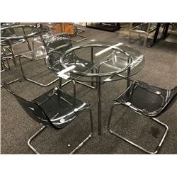GLASS TOP 36'' ROUND LUNCH ROOM TABLE WITH 4 CHAIRS (PLEASE PREVIEW)