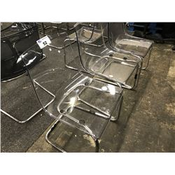 4 CLEAR LUNCH ROOM CHAIRS (PLEASE PREVIEW)