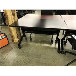 DARK WOOD 4' STEELCASE TRAIN MOBILE COLLAPSIBLE TABLE