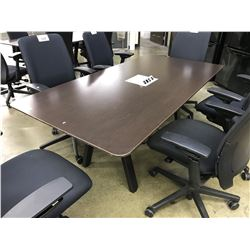 DARK WOOD 6' X 3' CONFERENCE TABLE WITH INTEGRATED POWER/SIGNAL ROUTING