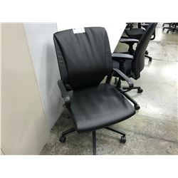 BLACK LEATHER EURO STYLE MID BACK EXECUTIVE CHAIR