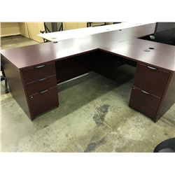 MAHOGANY 6' X 6' L-SHAPE EXECUTIVE DESK, RH