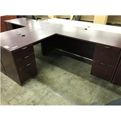 MAHOGANY 6' X 6' L-SHAPE EXECUTIVE DESK, LH