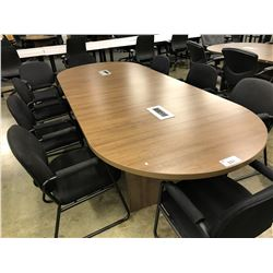 CHESTNUT 10' RACETRACK BOARDROOM TABLE WITH INTEGRATED POWER/SIGNAL ROUTING