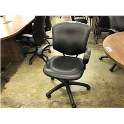 GLOBAL SUPRA BLACK LEATHER MID BACK EXECUTIVE CHAIR