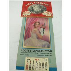 VICKS CALENDAR 1955-1956 & ACOTTS CALENDAR 1968