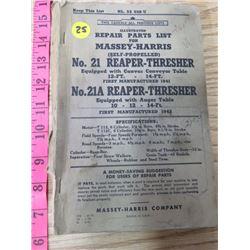 REPAIR PARTS LIST FOR MASSEY HARRIS NO. 21 REAPER THRESHER