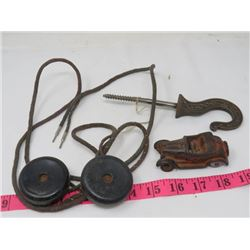 LOT INCLUDING BRONZE HOOK AND CAST IRON CAR