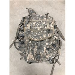 US MOLLE FIELD PACK WITH FRAME (RIP IN FRONT AND ON STRAP, FRAME CRACKED AT TOP)