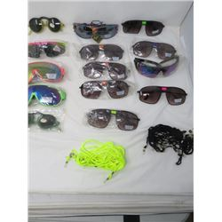 LOT OF 13 PAIR OF SUNGLASSES (NEW) *VARIOUS STYLES* (ADULT SIZES) *UV PROTECTION* (WITH LANYARDS)