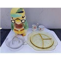 VINTAGE OWL COOKIE JAR, JUICER, DEPRESSION PICKLE PLATE, PETIT POINT CREAM AND SUGAR