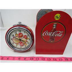 LOT OF COKE ITEMS ( CLOCK, SALT AND PEPPER SHAKERS, TIN HOLDER)