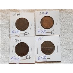 LOT OF 4 LARGE ONE CENT COINS (1859 X 2, 76H, 95)